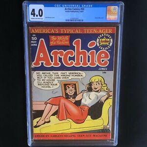 Archie-Comics-50-1951-CGC-4-0-VG-Classic-Betty-Cover-Rare-Golden-Age