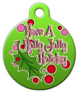 ... JOLLY HOLIDAY - Custom Personalized Pet ID Tag for Dog and Cat Collars