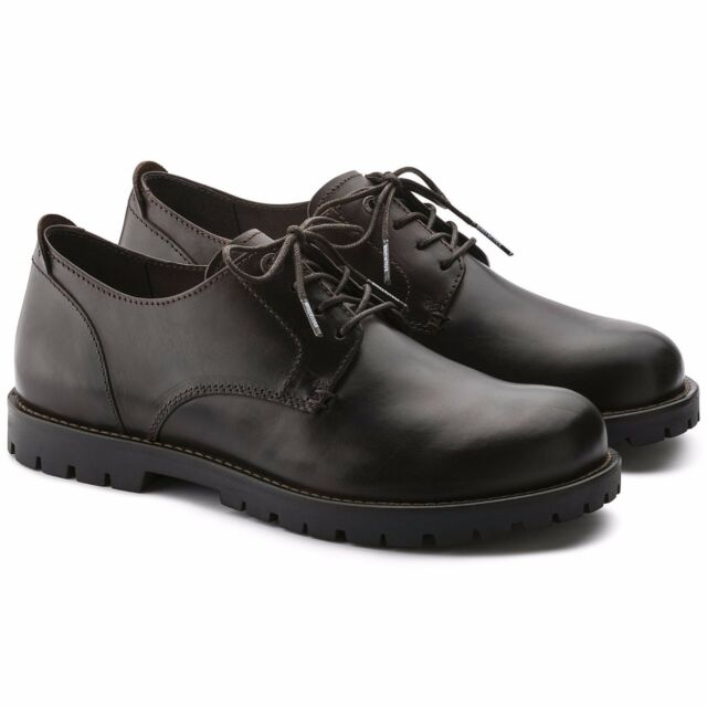 8c0fbe3870 BIRKENSTOCK SHOES GILFORD-LOW-M LACE-UP BLACK DARK BROWN LEATHER MAN MEN