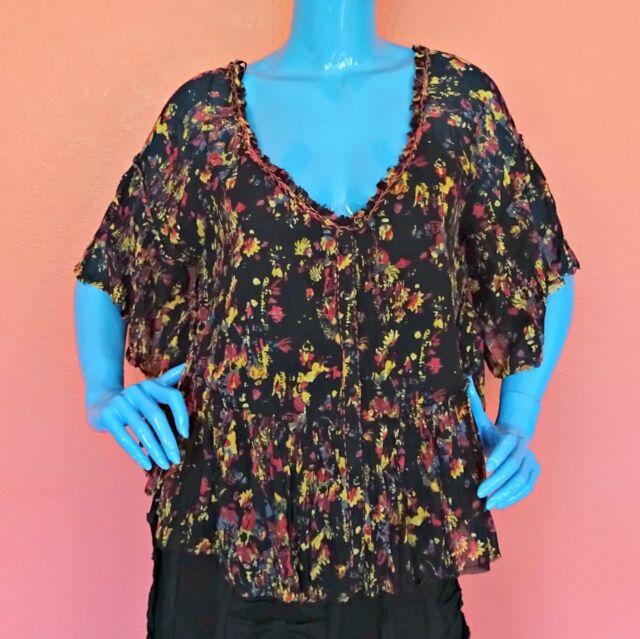 Free People Floral Boho Peasant Top Blouse Shirt M 8 10 12 Bohemian Tunic Frayed
