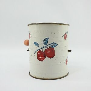Vintage Bromwell's 3 Cup Metal Measuring Flour Sifter Apple Pattern