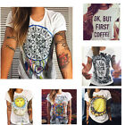 Hot Girls Summer Vintage T-shirts Womens Tops Cotton  Blouse Short Sleeve