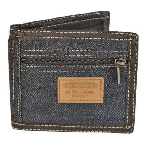 Navy Blue Denim Boys Mens Bifold 4 Card Wallet LL45