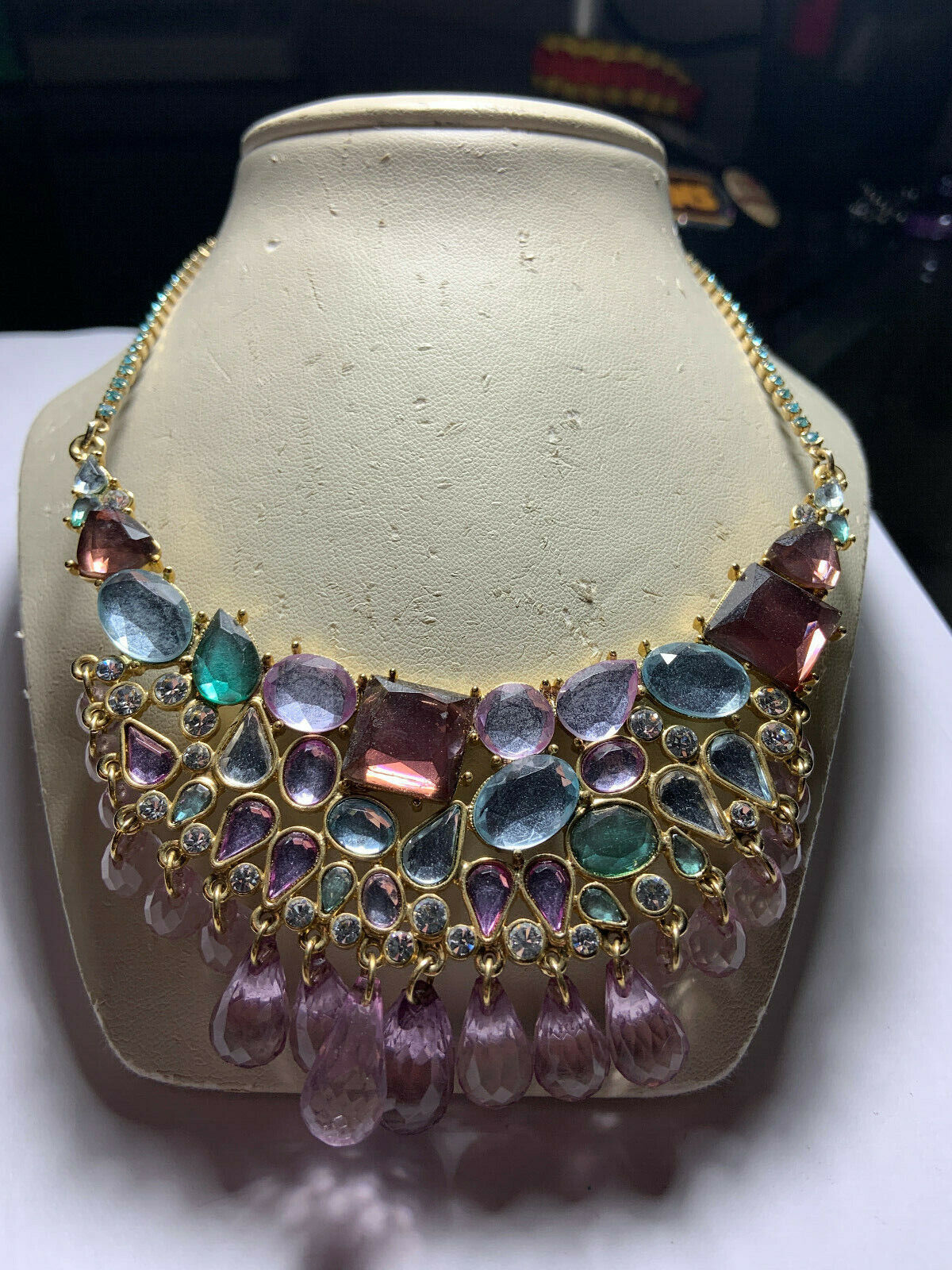 Vintage Arnold Scaasi gold tone multicolored hang… - image 2