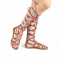 Floral Gladiator Sandals Knee High Lace Up Tie Flat Roman Women's Shoes