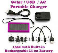 Solar USB AC Power Portable External Battery For Blackberry Samsung Sony HTC LG
