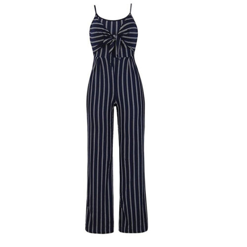 Ladies Women Striped Bow Clubwear Playsuit Party Overall Jumpsuit Strappy Romper