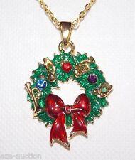 Christmas Gift Enamel, Rhinestone Crystal Wreaths Gold tone Necklace Chain