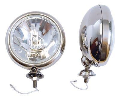"Pair STAINLESS Halogen Spot Lamps 5/"" Universal Classic Kit Car Triumph Mini etc"
