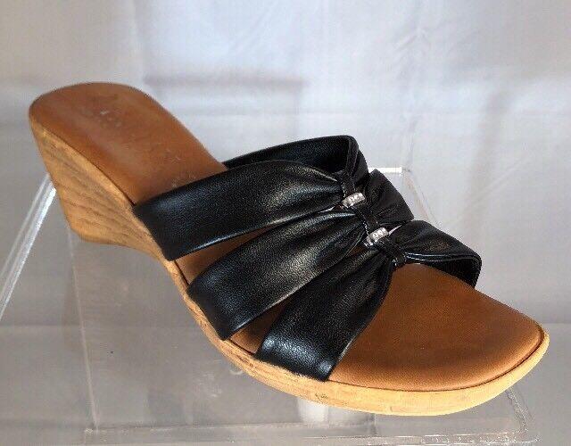 Italian Black Shoemakers Black Italian Leather Wedge Slides - Size 8M 399e26
