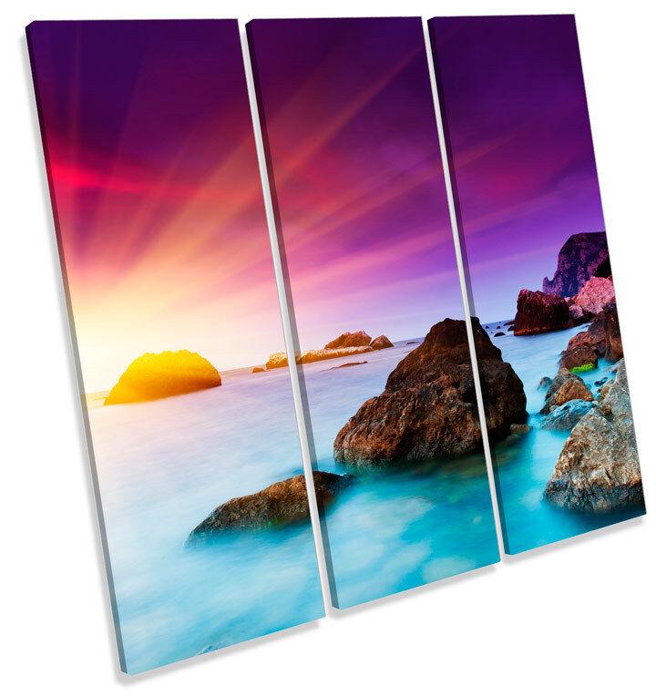 Sunset Seascape Beach Scene TREBLE CANVAS WALL ART Square Print Picture