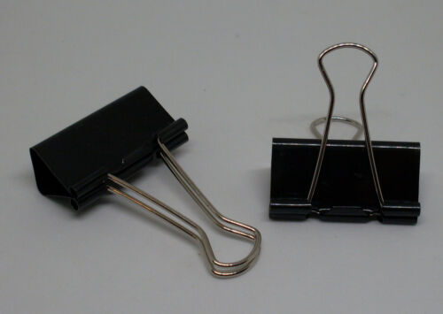 41mm schwarz metal Bügel Bürobedarf Neu OVP Binder Clips 12 Foldbackklammern