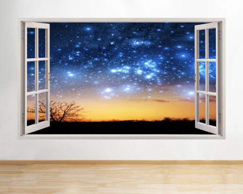 Wall Stickers étoiles lune terre nuit Scène Autocollant Poster 3D Art Vinyle R B080