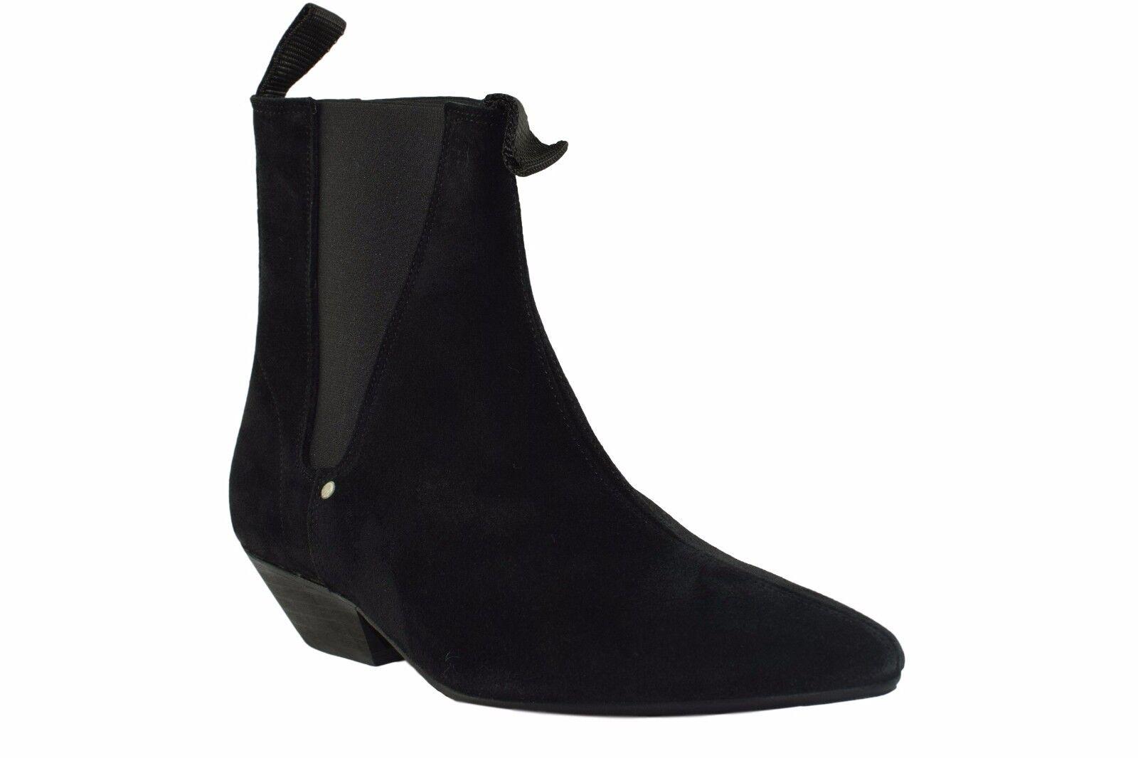 Terra in pelle Acciaio Stivali neri in pelle in scamosciata Beatle Tacco Cubano alla Caviglia BEAT Boot Sb033Z4 e2f9f4