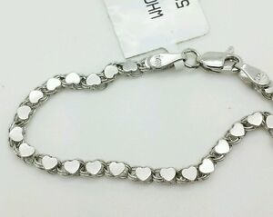 Image Is Loading 14k Solid White Gold Heart Link Bracelet Chain