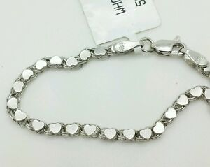 Details About 14k Solid White Gold Heart Link Bracelet Chain 5 2 9mm Baby Child