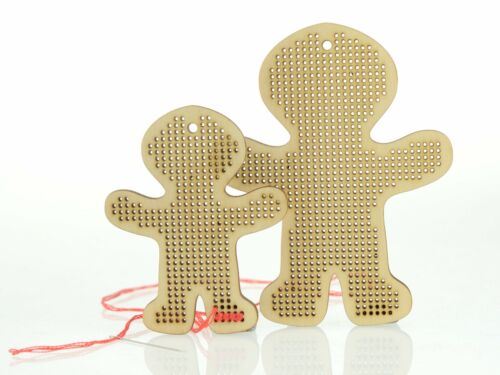 """3/"""" /& 4/"""" embroidery blanks Gingerbread Man Woman shapes Plywood cross stitch"""