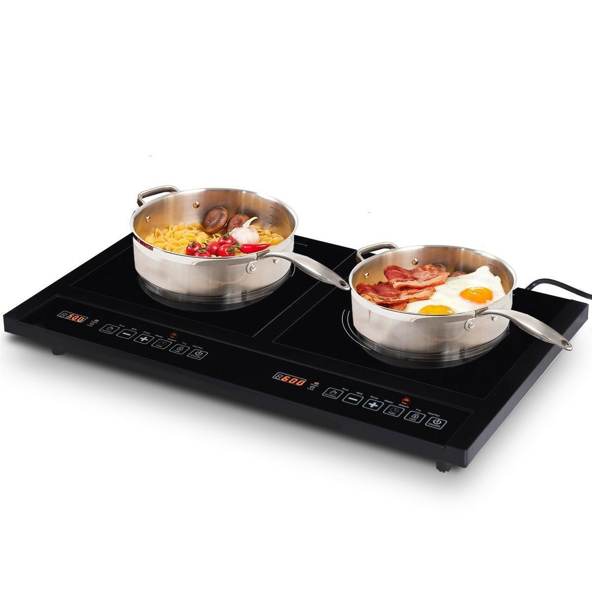Electric Dual Induction Cooker Stove Hot Plate Burners Cooktop 8 Levels W  Timer