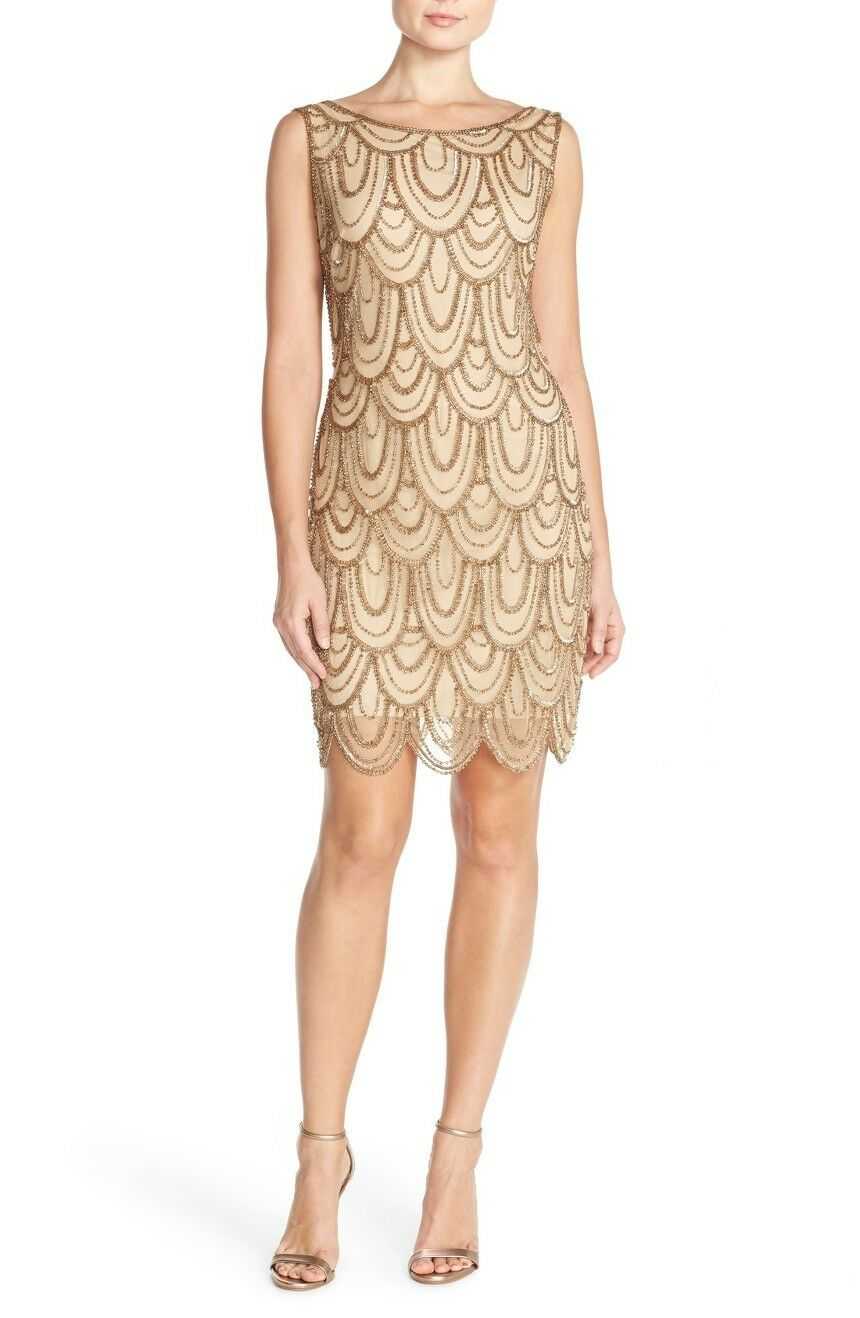 New PISARRO NIGHTS Embellished Sheath Mesh Dress Champagne gold Size 10