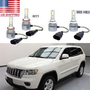 4X White LED Headlight Conversion Kit Hi//Lo Beams For Jeep Grand Cherokee 99-10