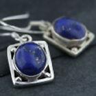 Beautiful Lapis Lazuli Gemstone Square Sterling Silver Earrings .925