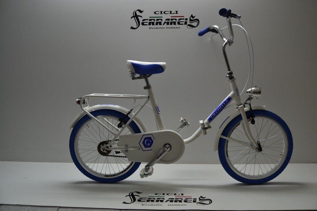 Bicicletta pieghevole modello graziella 20 acciaio passeggio monotubo white blue
