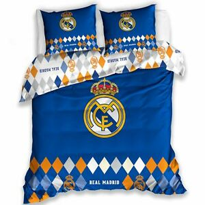 Real-Madrid-Cf-Diamant-Set-Housse-de-Couette-Double-Football-Literie-100-Coton