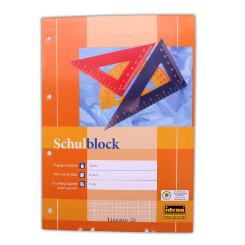 Schreibblock 2 STÜCK Schulblöcke Block kariert liniert gelocht mit 2 Rändern A4