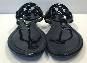 Tory-Burch-Miller-Black-PATENT-Leather-Flat-Classic-Sandals-Many-size