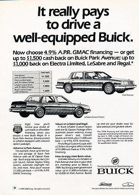Classic Vintage Advertisement Ad D05 1987 Buick Park Avenue extras