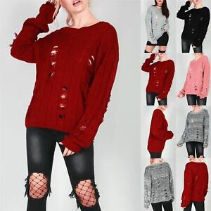 Womens-Ladies-Oversize-Chunky-Knitted-Distress-Destroyed-Ripped-Jumper-Baggy-Top
