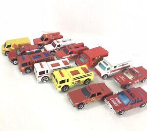 Vintage-1970-90-s-Hot-Wheels-Matchbox-Lote-De-Autos-De-Rescate-De-Bomberos-Diecast-1-64