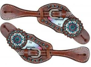 Showman MEDIUM OIL Antique Style Spur Strap w// Tooling /& TEAL Rhinestones NEW!!