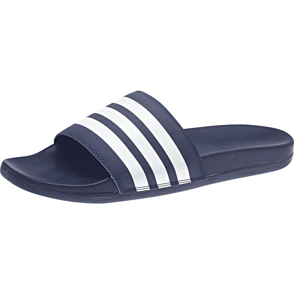 Adidas Hommes Sandales Adilette Cloudfoam Grande Rayures Glissières Bleu Plage