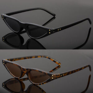 2dcdea193a44f Small Cat Eye Fashion Women Sunglasses Flat Top Retro Vintage Clout ...