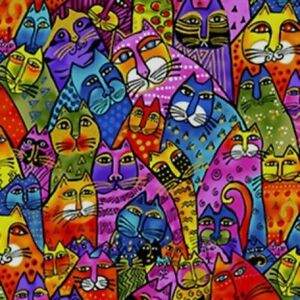 Laurel-Burch-Feline-Frolic-Packed-Cats-Multi-Colors-w-Metallic-Y2798-55M-BTY