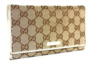 d24e47402 Image is loading Authentic-GUCCI-GG-pattern-Canvas-Leather-Kissing-lock-