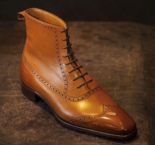 Handmade Uomo Tan Color Wingtip Brogue Ankle Ankle Ankle Stivali, Uomo fashion Pelle Stivali 802c46