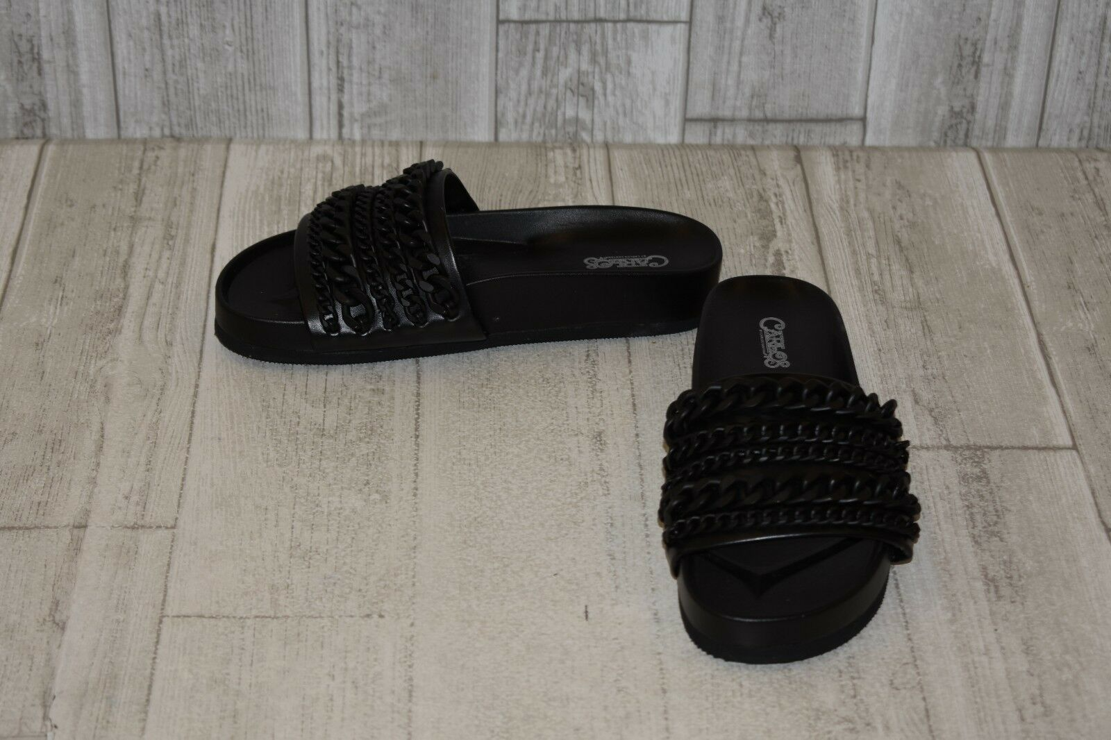 CARLOS by Carlos Santana Zoey Faux Leather Slide Sandals, Women's 8M, Black