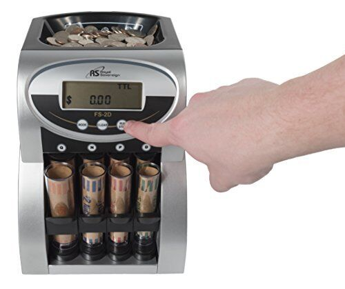 2 Rows of Coin Counting,Patented Anti-Jam Royal Sovereign Electric Coin Sorter