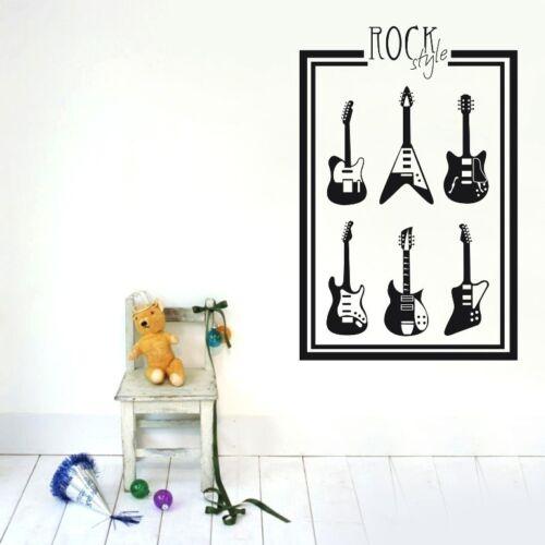 ROCK STYLE 6 GUITAR Wall Decor Removable Home Vinyl Decal Sticker Art DIY Mural