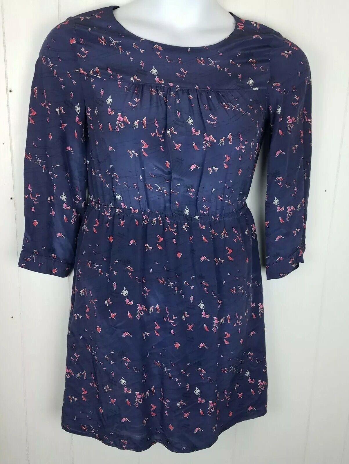 Madewell Dress Size 4 bluee Pink Bird Print silk Daydress Birdlife