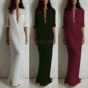 Zanzea Women Deep V Collar Long Sleeve Cotton Pencil Maxi Dress ... 671f77988