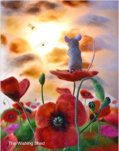 ART PRINT 'VIEW FROM THE POPPY' NEEDLE FELT PICTURE WHIMSICAL ARTIST FOLK MOUSE