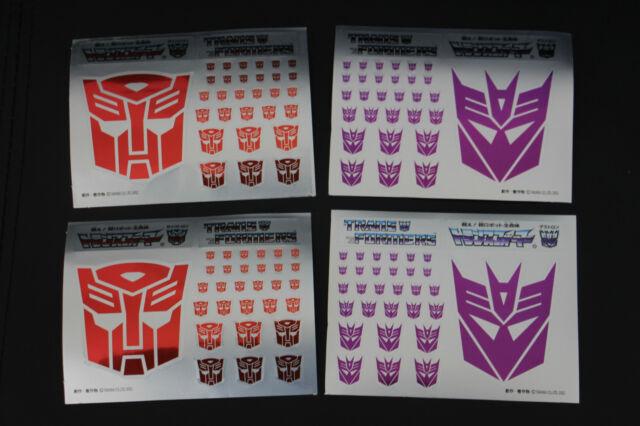 Transformers G1 Aotobot Decepticon Insignia Symbol Mirror Sticker Decal Sheet