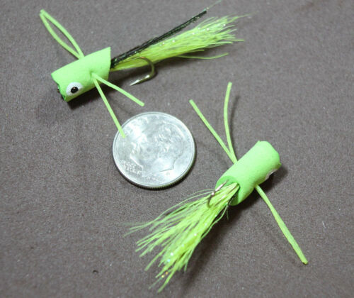 Bluegill Panfish Foam Poppers Six Colors Size 10 Hook 2 Poppers//Auction Flies
