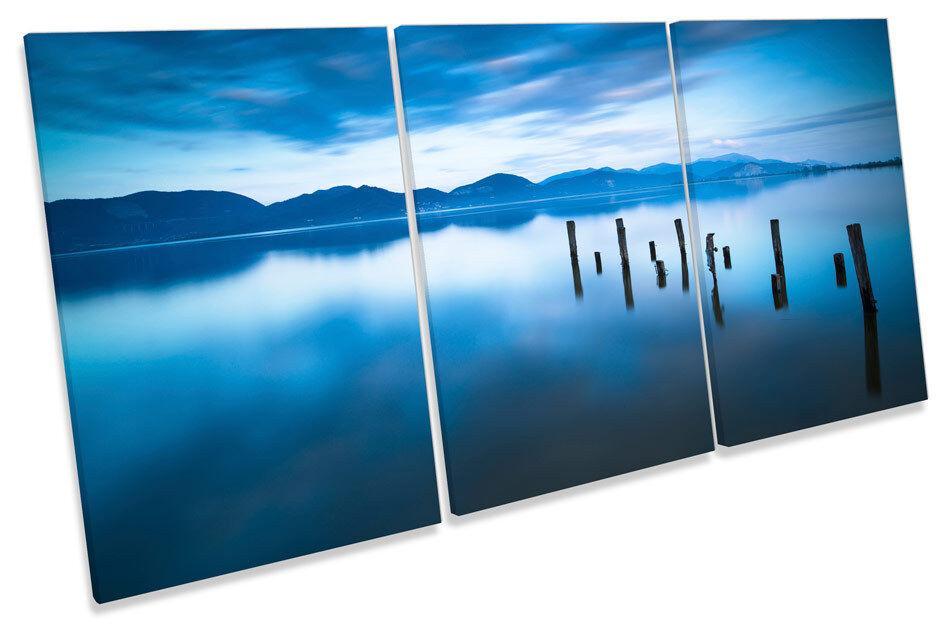 In legno Pier JETTY JETTY JETTY LAKE SUNSET TREBLE TELA parete arte foto stampa 81660e