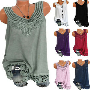 164b9570f58 Women O-Neck Sleeveless Pure color Lace Plus Size Vest Tops Loose T ...