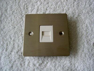 Volex Master Telephone Socket Flat Plate Satin Chrome White Insert  Free UK Ship