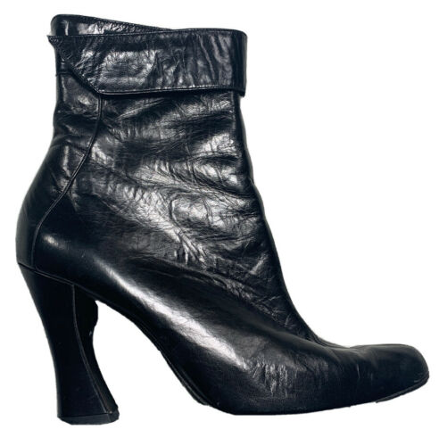 THIERRY MUGLER Ankle Boot Sz 7.5 Black Soft Leathe